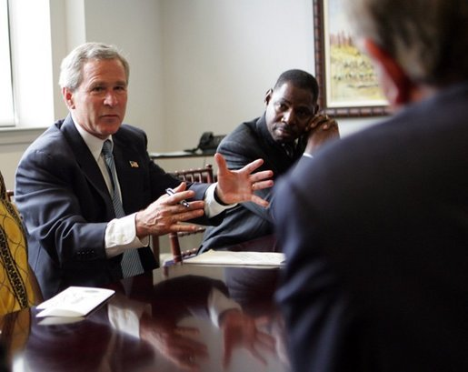 President George W. Bush meets with individuals who head faith-based and community organizations fighting to prevent the spread of HIV/AIDS, in Philadelphia, Penn., Wednesday, June 23, 2004. White House photo by Tina Hager