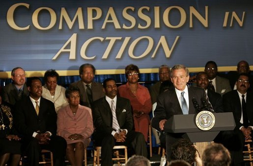 President George W. Bush delivers remarks on the President's Emergency Plan for Aids Relief, at People for People in Philadelphia, Penn., Wednesday, June 23, 2004. White House photo by Tina Hager