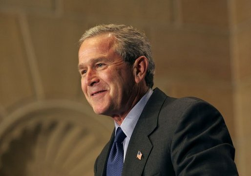 President George W. Bush discusses the benefits of broadband and wireless technology during a demonstration of such technologies at the U.S. Department of Commerce Thursday, June 24, 2004. White House photo by Tina Hager.