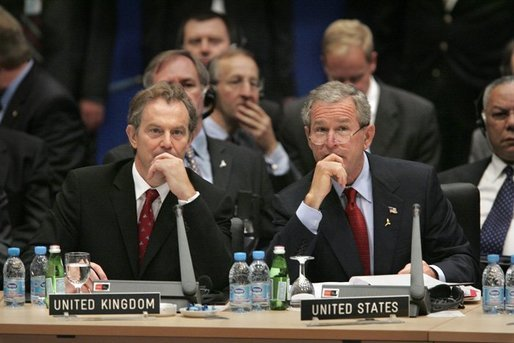 President George W. Bush and Prime Minister Tony Blair of Great Britain participate in the Working Session of the NATO-Ukraine Commission on the final day of meetings in Istanbul, Turkey, Tuesday, June 29, 2004. White House photo by Paul Morse.