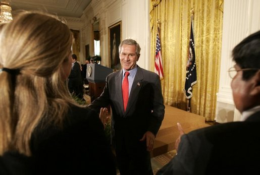 President George W. Bush greets small business owners after delivering remarks on the economy in the East Room, Friday, July 2, 2004. White House photo by Eric Draper