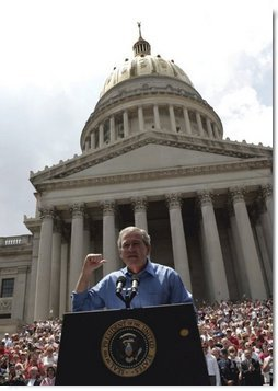 President George W. Bush delivers remarks at the Fourth of July Celebration on the steps of the Capitol in Charleston, West Virginia on Independence Day, 2004.  White House photo by Tina Hager