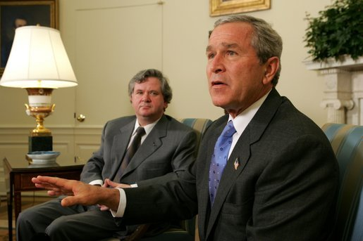 President George W. Bush meets with the Prime Minister David Oddsson of Iceland in the Oval Office Tuesday, July 6, 2004. White House photo by Eric Draper.