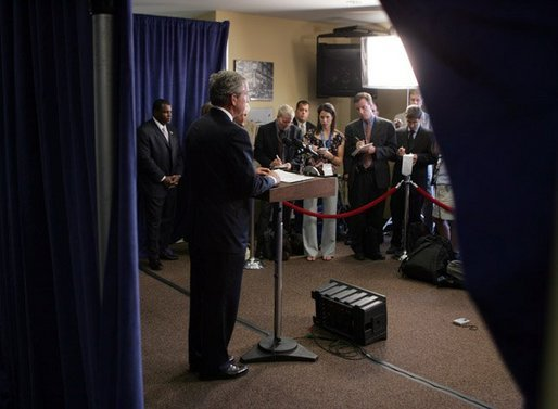 President George W. Bush makes a statement to the press during a stop in Waterford, Michigan on Wednesday July 7, 2004. The President was in Michigan to meet with pending Michigan based judicial nominees. White House photo by Paul Morse