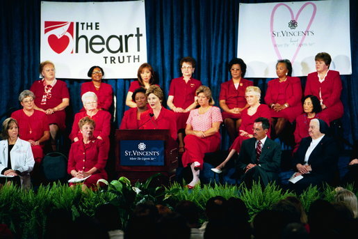 Laura Bush addresses a Heart Truth event at St Vincent's Hpspital in Jacksonville, Fla., July 15, 2004. White House photo by Joyce Naltchayan