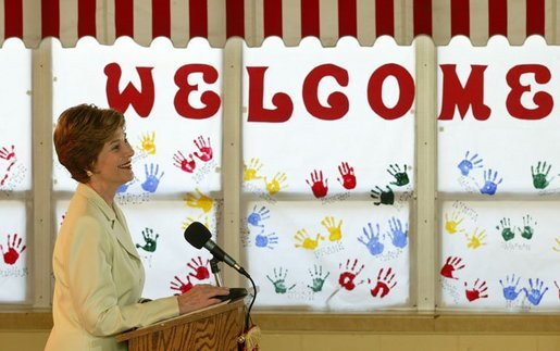Laura Bush addresses the press during a visit to Hueytown Elementary School in Birmingham, Ala., Wednesday, July 14, 2004. White House photo by Joyce Naltchayan