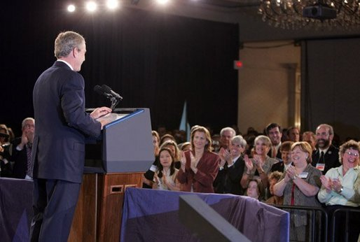 President George W. Bush makes remarks at the National Training Conference on Combating Human Trafficking in Tampa, Florida on Friday July 16, 2004. White House photo by Paul Morse