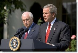 "As Vice President Dick Cheney stands by his side, President George W. Bush delivers remarks during the signing ceremony of S.15-Project Bioshield Act of 2004, in the Rose Garden Wednesday, July 21, 2004. ""The bill I am about to sign is an important element in our response to that threat. By authorizing unprecedented funding and providing new capabilities, Project BioShield will help America purchase, develop and deploy cutting-edge defenses against catastrophic attack,"" said the President.  White House photo by Paul Morse"