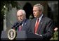"As Vice President Dick Cheney stands by his side, President George W. Bush delivers remarks during the signing ceremony of S.15-Project Bioshield Act of 2004, in the Rose Garden Wednesday, July 21, 2004. ""The bill I am about to sign is an important element in our response to that threat. By authorizing unprecedented funding and providing new capabilities, Project BioShield will help America purchase, develop and deploy cutting-edge defenses against catastrophic attack,"" said the President. White House photo by Paul Morse."