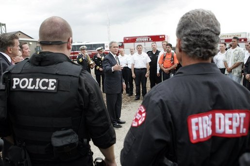 President George W. Bush addresses police and firemen after a demonstration by first responders at Northeastern Illinois Public Training Academy in Glenview, Illinois on Thursday July 22, 2004. White House photo by Paul Morse.