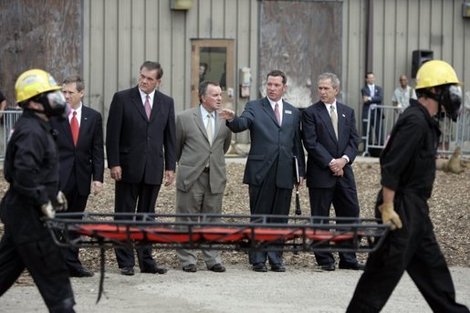 President George W. Bush observes a demonstration by first responders at Northeastern Illinois Public Training Academy in Glenview, Illinois on Thursday July 22, 2004. White House photo by Paul Morse.