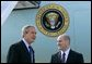 President George W. Bush meets with Freedom Corps Greeter Eric Rasmussen at Detroit Metropolitan Wayne County Airport, Friday, July 23, 2004. Rasmussen, a volunteer with the Tax Assistance Program at the Volunteer Accounting Service Team of Michigan, is the 300th USA Freedom Corps Greeter, since the President began greeting outstanding volunteers in communities across America in March 2002. White House photo by Eric Draper