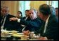 President George W. Bush leads his Cabinet meeting in the Cabinet Room Monday, August 2, 2004. White House photo by Eric Draper.