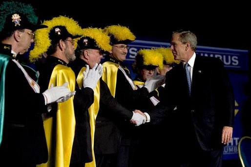 President George W. Bush greets members of the Knights of Columbus after remarks to the 122nd Annual Knights of Columbus Convention in Dallas, Texas, Tuesday, Aug. 3, 2004. White House photo by Eric Draper.