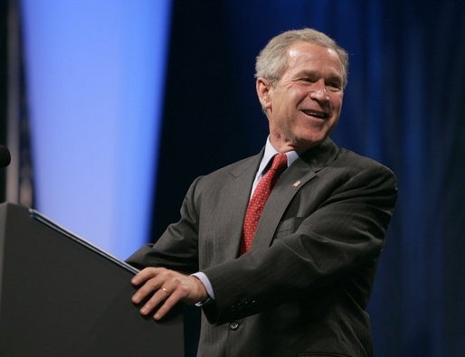 President George W. Bush reacts while he addresses the UNITY: Journalists of Color Conference in Washington, D.C., Friday, Aug. 6, 2004. White House photo by Eric Draper.