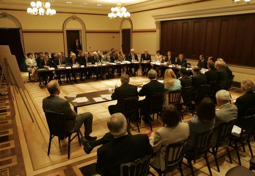 President George W. Bush meets with the President's Management Council and the lead members of the President's Management Agenda to hear about their accomplishments and to express his commitment to the group's efforts. The meeting occurred Monday, August 9, 2004 in the Eisenhower Executive Office Building. White House photo by Eric Draper