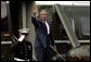 President George W. Bush waves from Marine One upon his departure to Pensacola, Fla., on the South Lawn Tuesday, August 10, 2004. White House photo by Joyce Naltchayan.