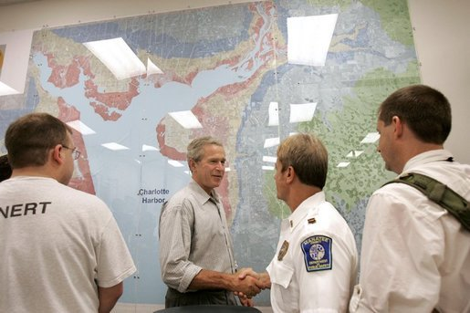 President George W. Bush meets with public safety personnel at the Charlotte County Emergency Operations Center in Punta Gorda, Fla., Sunday, Aug. 15, 2004. White House photo by Eric Draper.