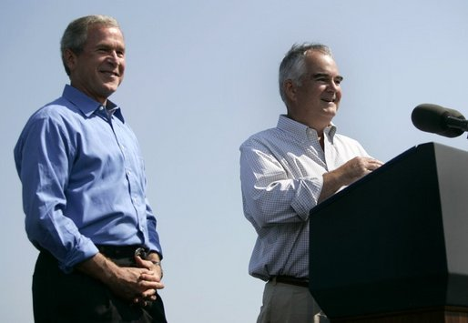President George W. Bush delivers remarks on the Columbia River Channel Deepening Project in Portland, Ore., Friday, Aug. 13, 2004. The President announced a $15 million budget amendment for the U.S. Army Corps of Engineers to begin construction on the project. White House photo by Eric Draper.