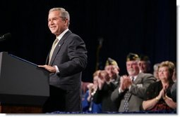 President George W. Bush speaks at the Veterans of Foreign Wars convention in Cincinnati, Ohio, Monday, Aug. 16, 2004.  White House photo by Paul Morse