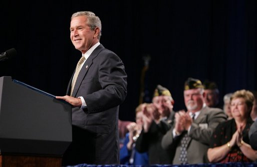 President George W. Bush speaks at the Veterans of Foreign Wars convention in Cincinnati, Ohio, Monday, Aug. 16, 2004. White House photo by Paul Morse.