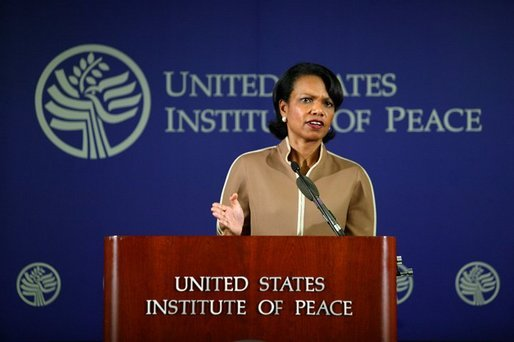 National Security Advisor Condoleezza Rice speaks about the Global War on Terror's war of ideas, addressing the efforts the Bush Administration has taken to lead the world toward values and understanding that will bring a just and lasting peace, at the United States Institute of Peace in Washington D.C., Thursday, August 19, 2004.
