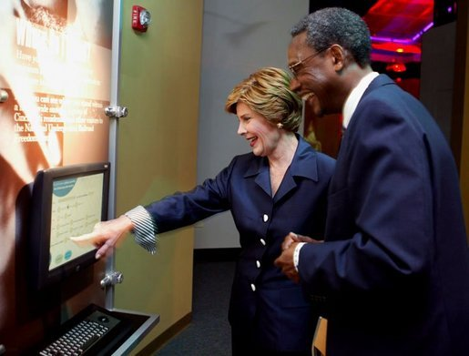 Laura Bush tours the National Underground Railroad Freedom Center with Dr. Spencer Crew, National Underground Railroad Freedom Center Executive Director and CEO, prior to dedication ceremonies in Cincinnati, Ohio, Monday, Aug. 23, 2004. White House photo by Joyce Naltchayan