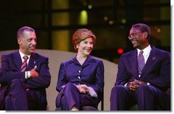 Laura Bush participates in the dedication of the National Underground Railroad Freedom Center in Cincinnati, Ohio, Monday, Aug. 23, 2004. Pictured with Mrs. Bush are the center's executive director Dr. Spencer Crew, right, and President Edward Riguad.  White House photo by Joyce Naltchayan