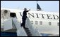 President George W. bush departing as State Technical College AIrport in Waco, Texas to Las Cruces, New Mexico on Thursday August 26, 2004. White House photo by Paul Morse.