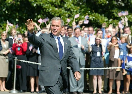 President George W. Bush waves upon his departure from the White House Wednesday, Sept. 1, 2004. White House photo by Tina Hager.
