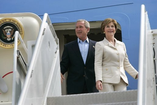 President George W. Bush and Mrs. Bush arrive aboard of Air Force One at General Mitchell International Airport - Air Reserve Station in Milwaukee, Wisconsin, Friday, Sept. 3, 2004. White House photo by Eric Draper