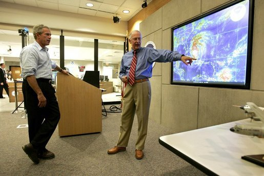 President George W. Bush receives briefing on Hurricane Frances from Max Mayfield, Director of the National Hurricane Center, in Miami, Fla., Wednesday, Sept. 8, 2004. White House photo by Eric Draper