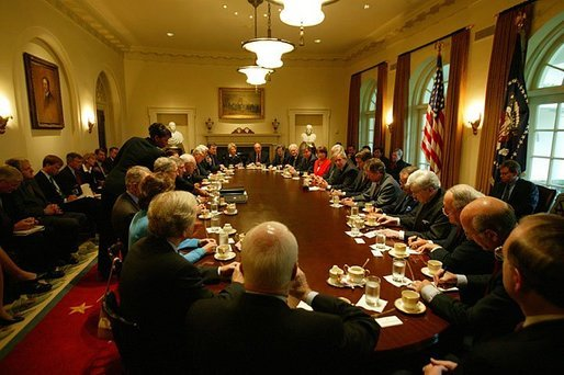 President George W. Bush hosts a bipartisan meeting with Members of the House and Senate in the Cabinet Room Wednesday, Sept. 8, 2004. White House photo by Tina Hager
