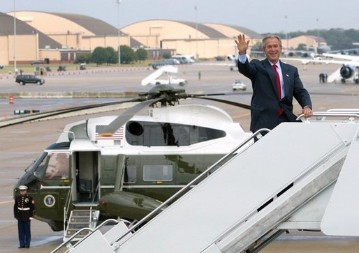 President George W. Bush boards Air Force One at Andrews Air Force Base en route to Colmar, Pa., Thursday, Sept. 9, 2004. White House photo by Tina Hager.