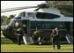 President George W. Bush and Laura Bush depart the South Lawn en route to Andrews Air Force Base, Friday, Sept. 10, 2004. White House photo by Joyce Naltchayan.