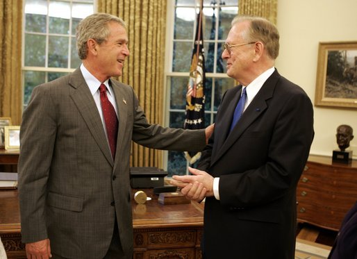 President George W. Bush meets with Dr. Arden L. Bement in the Oval Office Wednesday, Sept. 15, 2004. President Bush is nominating Dr. Bement to be Director of the National Science Foundation. Dr. Bement has been serving as Acting Director since February 22, 2004. White House photo by Paul Morse