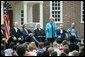 "Lynne Cheney hosts Constitution Day 2004 ""Telling America's Story,"" with 200 third grade students from Fairfax County Public Schools at Gunston Hall Plantation, the historic home of George Mason, in Mason Neck, Va., Friday, Sept. 17, 2004. This year's Constitution Day highlights Founding Father George Mason, who did not sign the U.S. Constitution 217 years ago because it lacked a bill of rights. White House photo by Tina Hager"