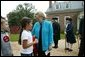 Lynne Cheney greets third grade students from Fairfax County Public Schools at Gunston Hall Plantation, the historic home of Founding Father George Mason, Friday, Sept. 17, 2004. White House photo by Tina Hager
