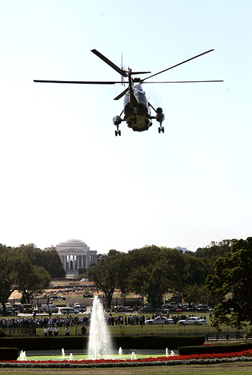Marine One flies from the South Lawn en route to Andrews Air Force Base Monday, Sept. 20, 2004. White House photo by Paul Morse