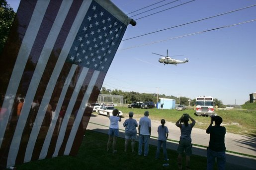 Marine One with President George W. Bush aboard lands in Millvale, Pa. following an aerial tour of recent flood damage from Tropical Depression Ivan in Allegheny County, Pa., Wednesday, Sept. 22, 2004. President Bush declared that a major disaster exists in the Commonwealth of Pennsylvania and ordered federal aid for Allegheny and several nearby counties. White House photo by Eric Draper.