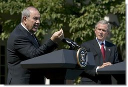 "Iraqi interim Prime Minister Ayad Allawi discussed his country's counter-terrorism plan during a press conference in the Rose Garden Thursday, Sept. 23, 2004. ""The Iraqi government now commands almost 100,000 trained and combat-ready Iraqis, including police, national guard and army. The government have accelerated the development of Iraqi special forces and established a counter-terrorist strike force to address the specific problems caused by the insurgency,"" said the Prime Minister.  White House photo by Eric Draper"