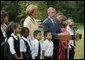 President George W. Bush thanks U.S. school children and the International Federation of Red Cross and Red Crescent Societies for their efforts to aid the victims of the school siege in Beslan, Russia, during a statement to the press on the South Lawn Friday, Sept. 24, 2004. White House photo by Paul Morse.