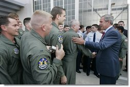 President George W. Bush greets Air Force reservists from Grissom Air Force Base, 434th Air Refueling Wing, at Wright-Patterson Air Force Base Monday, Sept. 27, 2004.  White House photo by Eric Draper