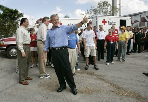 "President George W. Bush addresses the press during a visit to Martin County Red Cross Headquarters in Stuart, Fla., Thursday, Sept. 30, 2004. ""I appreciate the strong leadership of the -- of those who represent the armies of compassion,""said the President. ""I'm proud to stand with the men and women of the Red Cross, the Salvation Army and other faith-based and community groups that are providing important relief."" White House photo by Eric Draper"
