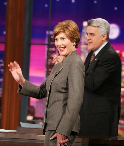 Mrs. Laura Bush appears at a taping of the Tonight Show with Jay Leno in Burbank, California on October 6, 2004. White House photo by Paul Morse.