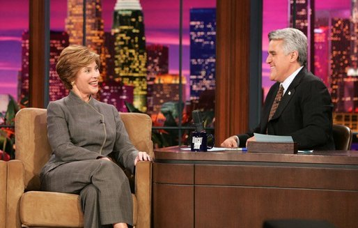 Mrs. Laura Bush appears at a taping of the Tonight Show with Jay Leno in Burbank, California on October 6, 2004. White House photo by Paul Morse