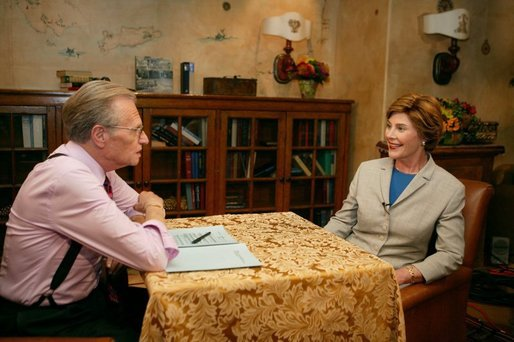 Laura Bush talks with Larry King during an interview in Phoenix, Ariz., Oct. 12, 2004. White House photo by Joyce Naltchayan.