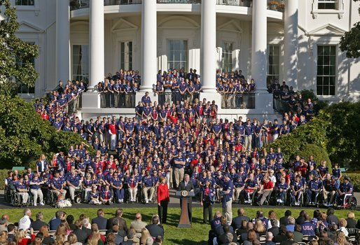 "President George W. Bush welcomes the 2004 U.S. Olympic and Paralympic Teams on the South Lawn Monday, Oct. 18, 2004. ""With millions watching, you showed the best values of America,"" said the President. ""You were humble in victory, gracious in defeat. You showed compassion for your competitors. You showed the great tolerance and diversity of our people."" White House photo by Paul Morse"
