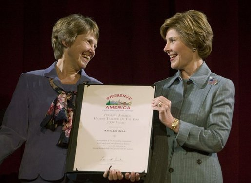 Laura Bush congratulates Kathleen Kean, the national Preserve America History Teacher of the Year, during an awards program at the New York Historical Society in New York, N.Y., Tuesday, Oct. 19, 2004. White House photo by Joyce Naltchayan.