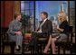 Laura Bush participates in an interview with Regis Philbin and Kelly Ripa during an appearance on the Live with Regis and Kelly show in New York, N.Y., Tuesday, Oct. 19, 2004. White House photo by Joyce Naltchayan.